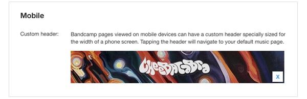 mobile artist site custom header