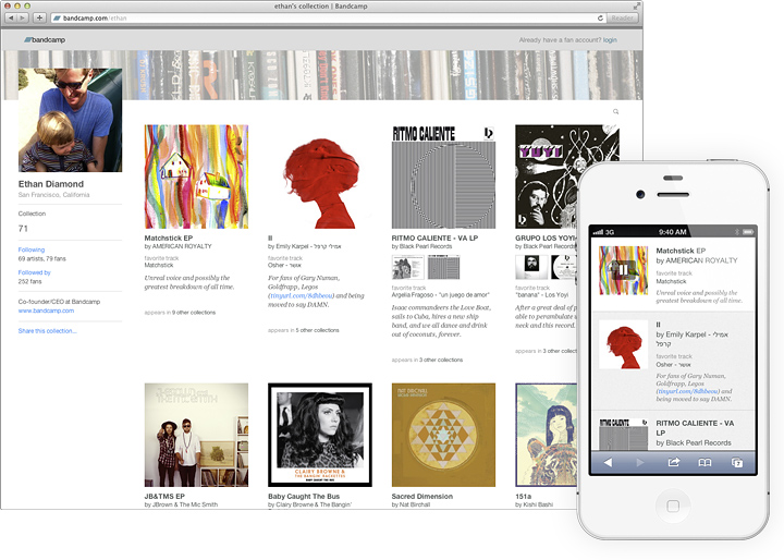 bandcamp for fans, collection pages