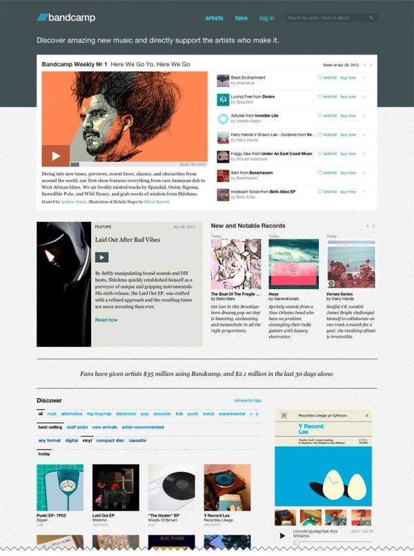 brand new bandcamp home page